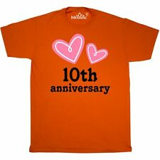 Inktastic 10th Wedding Anniversary Hearts T-Shirt 10 Year Occasions Gift Pink