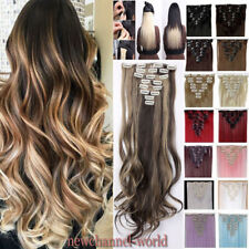 Ombre Hairpiece Clip in Hair Extensions 8 Pieces Full Head Long As Human Hair W5