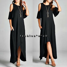 Plus Size Black Cold Shoulder Hi Lo Harem Maxi Dress Tunic Flutter Ruffle Sleeve