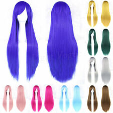 32'' Full Wig Long Straight Wig Cosplay Party Costume Anime Synthetic Hair 044b