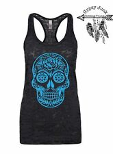 Rose Sugar Skull Burnout Tank - Sugar Skull Top - Black and Blue