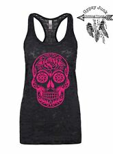 Rose Sugar Skull Burnout Tank - Sugar Skull Top - Black and Pink