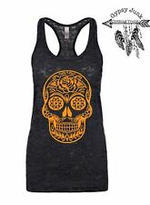 Rose Sugar Skull Burnout Tank - Sugar Skull Top - Black and Orange
