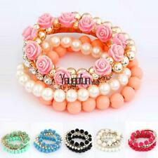 Mix Flower Beads Stretch Bracelet Temperament Alloy Resin Rhinestone HYFG