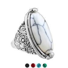 Women Vintage Oval Turquoise Antique Silver Plated Carving Ring Jewelry Happy