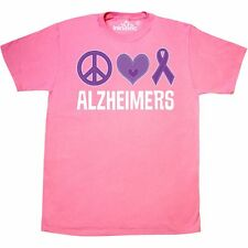 Inktastic Alzheimers Peace Love Purple Ribbon Awareness T-Shirt Disease Support