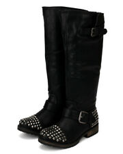 Breckelles Trooper-13 New Women Leatherette Studded Buckle Riding Knee High Boot