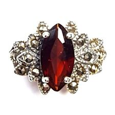 GARNET Stone RING Marquise-Cut Marcasite .925 STERLING SILVER (SIZE 6,7,8)