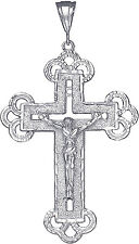 Large Sterling Silver Cross with Jesus Pendant Necklace Diamond Cut Finish