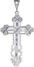Large Sterling Silver Cross without Jesus Pendant Necklace Diamond Cut Finish