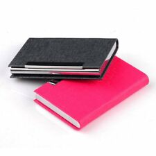 Business ID Credit Card Holder Stainless Steel & PU Leather Thin Card Case BS