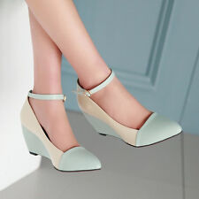 Shoes Women Wedges Ankle Strap High Heels Pointed Toe Buckle Ladies Usual Pumps
