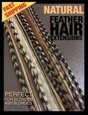 Natural Feather Hair Extensions Grizzly Pk 12 +4Free XL Long Tool Bead CraftKit