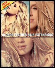 Blonde NATURAL Feather Hair Extensions XL 6 Pk +2Free Grizzly Bead Tool CraftKit