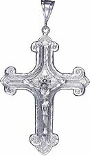 Large Heavy Sterling Silver Cross with Jesus Pendant Necklace 18 Gram 3.5 Inches