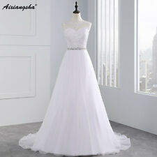 A Line Wedding Applique Bridal Dress Vintage Beading See Though Back Tulle Gowns