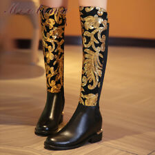 Women Real Leather Thigh Over The Knee Boots Increasing Heels Zipper Shoes Lady