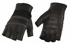 Men's Leather & Mesh Fingerless Gloves with Gel Palm, Reflective Band - MG7548
