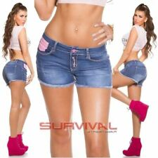 Womens NEW Hot Pants Denim Mini Shorts Low Rise Pink Buttons Size 6 8 10 12 14