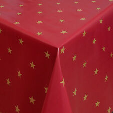 Red Gold Stars Wipe Clean Tablecloth Oilcloth Vinyl PVC - 140cm Wide
