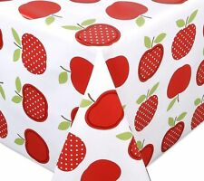Spots Red Apples Wipe Clean Tablecloth Oilcloth Vinyl PVC - 140cm Wide