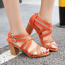 Women Summer Gladiator Sandals High Heels Cross Strap Rome Buckle Open Toe Shoes