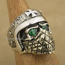 925 Sterling Silver Motorcycle Helmet Skull Ring Green CZ Eyes Brass Mask TA25A