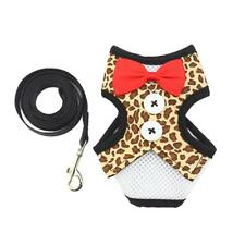 Dog Adjustable Harness Collar with Leash Pet Party Wedding Costume Outfit_Size L