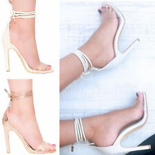 LADIES WOMENS BARLEY LACEUP STRAPPY PARTY FASHION HIGH HEEL SANDAL SHOE SIZE 3-8