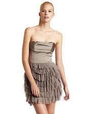 NEW BCBG MAX AZRIA JACQUIER DRESS BRONZE GOLD  RUCHED PLEATED NWT WOMENS
