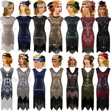 Vintage 1920s Flapper Dress Gatsby Sequins Beads 20's Party Prom Evening Dresses