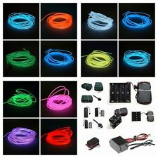 New Neon EL Wire Tube Light 20M 30M 50M With Inverter Battery 110-220V