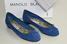 $595 NEW Manolo Blahnik Fracto Suede Flats Blue Navy Flat SHOES Bow 37.5 39.5 40