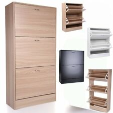 2 3 Drawer Shoe Cabinet Storage Cupboard Footwear Stand Rack Wooden Top Quality