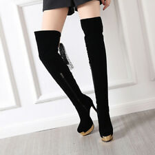 Women Over the Knee Thigh High Boots Super High Heels Platform Shoes Lace Lady