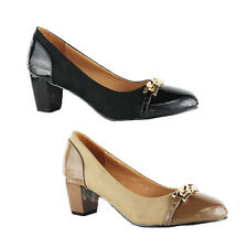 WOMENS LADIES CASUAL WORK MID HIGH BLOCK HEELS PUMPS COURT SHOES SIZE 3-8