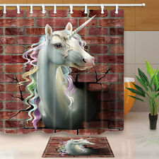 The head of a unicorn jumps out of a brick wall Shower Curtain Fabric & 12 Hooks