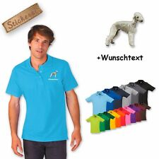 Polo Shirt Cotton Embroidered Embroidery Dog Bedlington + Desired text