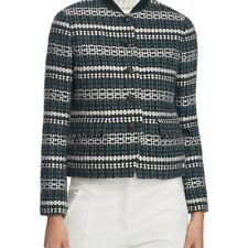 TORY BURCH WOMENS NORFOLK STRIPE TWEED JACKET