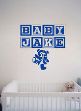 Personalised Baby Name Bear Blocks Wall Decal Removable Sticker Nursery