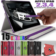 PU Leather 360 Rotating Stand Folding Swivel Case Cover for Apple iPad 4 3 2