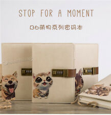 Cute pet PU Leather Diary Pocket Journal Planner Notebook With Lock Password