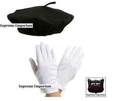 Supreme French Mime Artist Fancy Dress Costume Beret Gloves Deluxe Set Adults