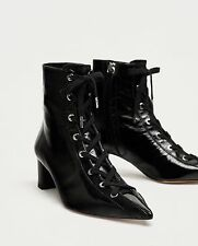 ZARA NEW AW17 LACE-UP LEATHER HIGH HEEL ANKLE BOOTS 6078/201