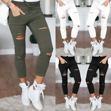 Ladies Pants Stretchy  Faded Ripped New Womens Slim Fit Skinny Leggings Trousers