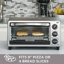 Stainless Steel Toaster Oven Countertop 4 Slice Bake Broil Pizza w/ Timer & Tray