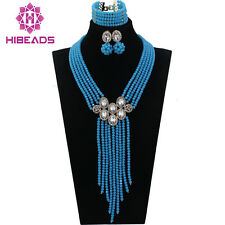 Fashion Sky Blue Crystal Jewelry Sets African Necklace Earrings Jewelry Set New