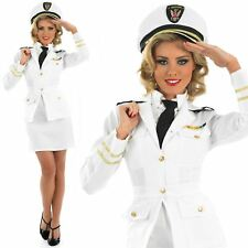 Womens 1940s Navy Officer Ladies Sailor Costume Fancy Dress WW2 Naval Uniform