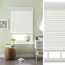 Horizontal Blinds Faux Wood Corded 31 x 64 Inch White Modern Style Window Decor