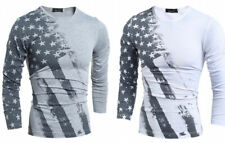 Mens Fashion Casual Slim Fit Crew Neck T-Shirt Long Sleeve Muscle Basic Tee Tops